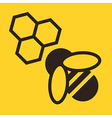 Bee and honeycombs icon vector image
