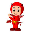 cute devil kids cartoon vector image