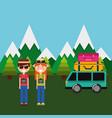 happy couple tourist vacation mountains van vector image