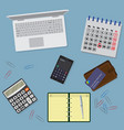 office table organzation with stationary laptop vector image