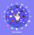 restaurant symbols round composition vector image