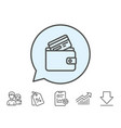 wallet with credit card line icon cash money vector image