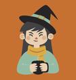 Witch Holding Mug vector image