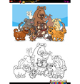 dog character group for coloring vector image vector image