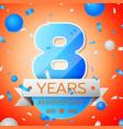 eight years anniversary celebration vector image