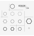 Set black character of hexagons eps10 vector image