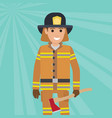 firefighter in uniform with wooden axe vector image