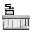 grayscale cash register technology to check vector image
