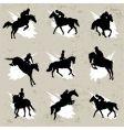 horse with jockey vector image