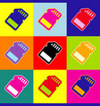 memory card sign pop-art style colorful vector image