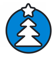 christmas circle blue icon new year vector image vector image