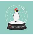 King Penguin Emperor in red santa hat Cute cartoon vector image