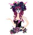 Sugar Skull Girl in Flower Crown13 vector image