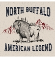 Vintage label with buffalo vector image