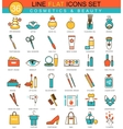 Beauty and cosmetics flat line icon set vector image