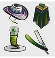 Sambrero ponchos and other symbols of Mexico vector image