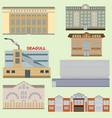 flat design of retro and modern city houses icons vector image