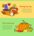 thanksgiving day and rich harvest banners set vector image