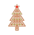 Gingerbread Christmas tree cookie vector image