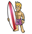 Cartoon of surfer pose with the surfboard vector image vector image