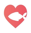 fish heart food cat pet vector image