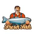 fresh fish logo fishing angling or vector image