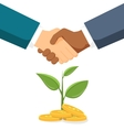 Handshake two men on the background money tree vector image