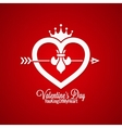 Valentines Day Vintage Concept On Red Background vector image vector image