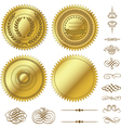 Gold seal set vector image