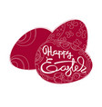Card with dark red eggs and handwritten word happy vector image