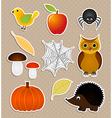 Autumn nature stickers set vector image
