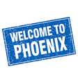 Phoenix blue square grunge welcome to stamp vector image