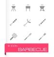 black barbecue icon set vector image