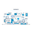 communications support and feedback analysis vector image