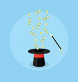 magic hat and money vector image