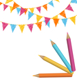 Pencils with multicolored buntings isolated on vector image