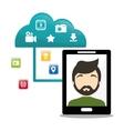 smartphone man cloud connect social media vector image
