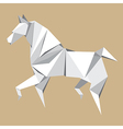 White paper horse origami vector image