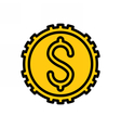 Coin outline icon vector image