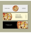 Banners design with pizza sketch vector image vector image