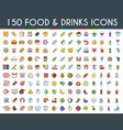 food and drinks flat line icons vector image vector image