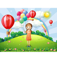 A girl holding balloons vector image