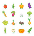 cartoon fresh healthy vegetables characters set vector image