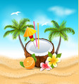 exotic coconut cocktail with frangipani orange vector image