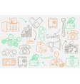 Hand drawn doodles background with business icons vector image