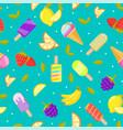 seamless ice cream pattern colorful cartoon vector image
