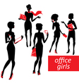 Set of fashionable business girls silhouettes on a vector image