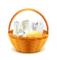 Dairy products in wicker basket isolated on white vector image