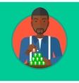Man building pyramid of network avatars vector image