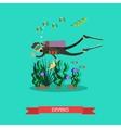 diver swimming underwater vector image vector image